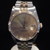 1989 16233 Rolex oyster perpetual Datejust 36mm case diameter steel and gold , fluted bezel champagne dial batons