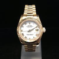2008 Rolex oyster perpetual Datejust  18ct yellow gold 179178 white dial gold Roman numerals gold fluted bezel