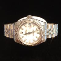 179174 Ladies rolex oyster perpetual Datejust  white dial fluted bezel jubilee bracelet