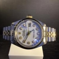 Rolex Ladies Datejust steel and gold diamond set non original dial, 18ct fluted bezel steel and gold jubilee bracelet