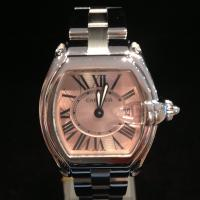 Cartier ladies stainless steel roadster ladies watch automatic movement 31mm  sapphire glass pink dial Roman numerals