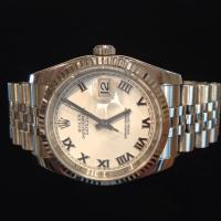 2009 stainless steel Rolex Datejust  white dial Roman numerals fluted bezel jubilee bracelet 36mm case