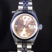 69160 Rolex Lady Date in stainless steel , 26mm case with polished bezel ,salmon dial and steel jubilee bracelet