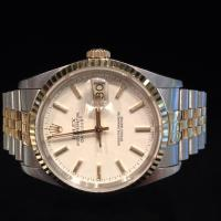 1990 16233 Rolex oyster perpetual Datejust 36mm case diameter fluted gold bezel and steel and gold jubilee bracelet.